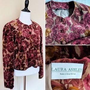 Vintage velvet Laura Ashley made in UK crop jacket